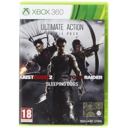 ULTIMATE ACTION TRIPLE PACK Xbox 360 - Tomb Raider Just Cause 2 Sleeping Dogs