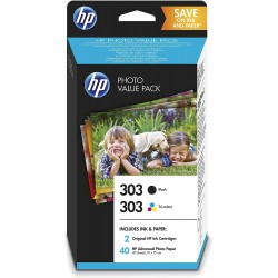 HP 300 Photo Starter Pack Originale Tri-Colour Ciano, Magenta, Giallo Multipack +  50 fogli fotografici