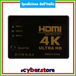 SWITCH HDMI 3 porte 4K UHD 3D 1080p ps4 ps3 hd xbox one
