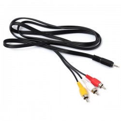 CAVO AUDIO STEREO + VIDEO - JACK 3,5 mm a 2 x RCA MASCHIO 1,5 mt metri ADATTATORE CABLE